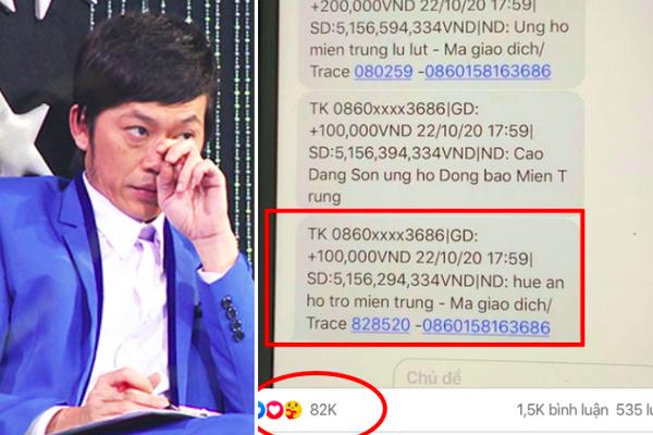 """HOT showbiz: NSƯT Hoài Linh công bố có hơn 5 tỷ đồng ủng hộ miền Trung để đáp trả kẻ nói """"chỉ giỏi kêu gọi""""?"""