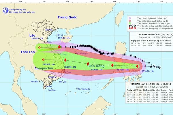 Tin bão mới nhất: Bão số 8 tiến sát Hà Tĩnh - Quảng Trị, bão Molave có thể vào Đà Nẵng - Phú Yên