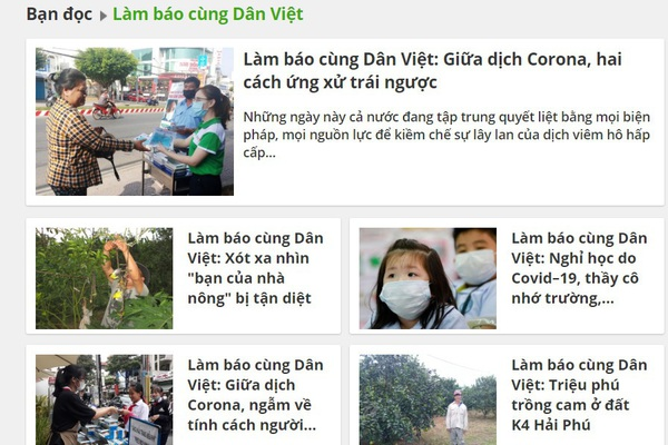 Các tác phẩm trao giải Cuộc thi Làm báo cùng Dân Việt