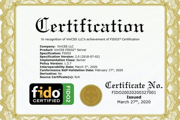 Vingroup đạt chuẩn FIDO2 thứ hai cho sản phẩm máy chủ xác thực mạnh
