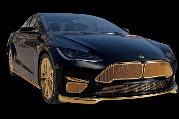 Xe điện Tesla mạ vàng 24K, siêu phẩm đắt nhất thế giới