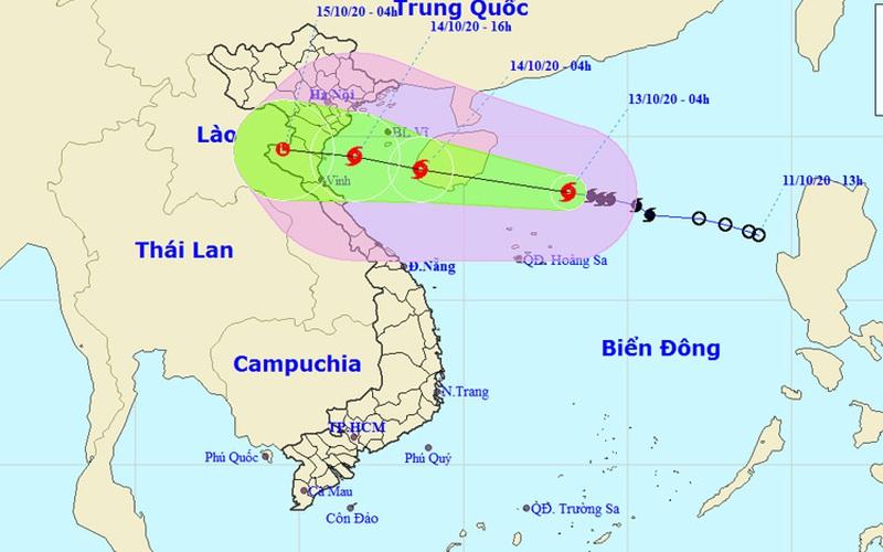 Đêm 13/10, bão số 7 đi vào Vịnh Bắc Bộ gây mưa rất to, biển động mạnh
