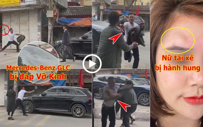 Mùng 2 Tết, thanh niên xăm trổ cầm gạch đập xe Mercedes-Benz, đấm vào mặt nữ tài xế