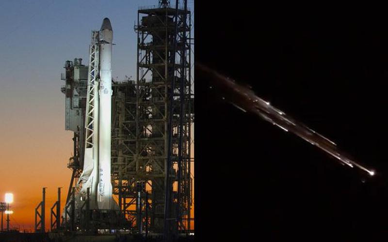Mảnh tên lửa SpaceX bay ngang Thái Bình Dương, sáng rực cả một vùng trời