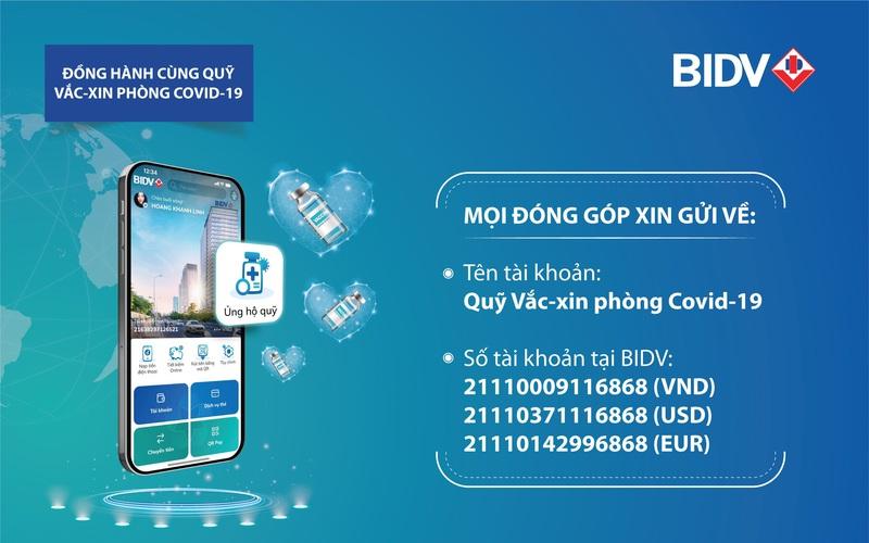 BIDV được chấp thuận là ngân hàng tiếp nhận ủng hộ quỹ vắc - xin phòng Covid19