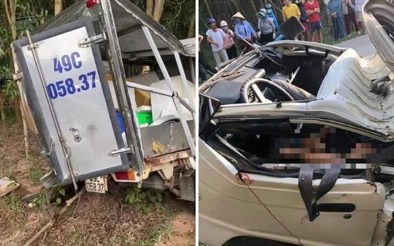 Xe tải bất ngờ lật giữa đường, 2 người tử vong