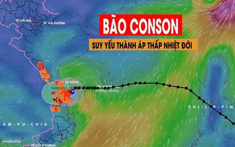 Bão Conson suy yếu thành áp thấp nhiệt đới ít di chuyển