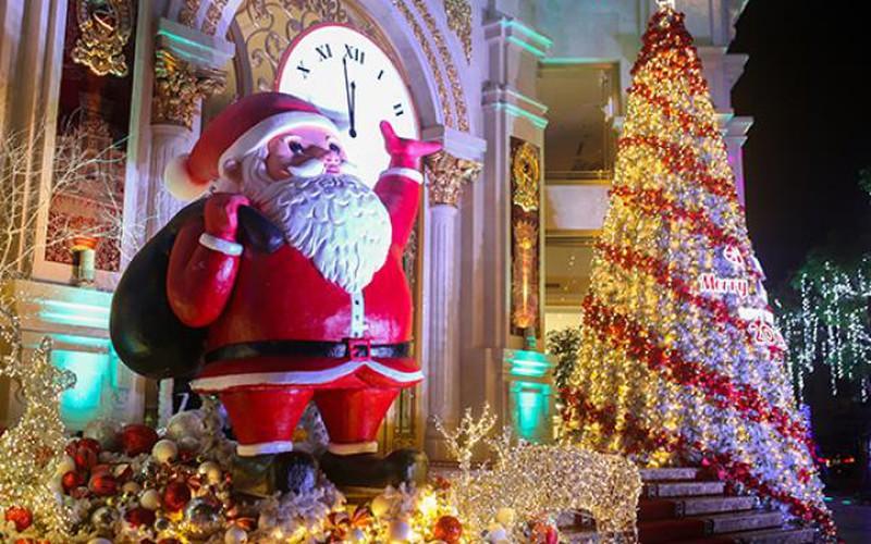 Những cây thông khổng lồ mùa Giáng sinh thắp sáng đêm đông Hà Nội